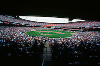 SAN FRANCISCO, CA - A half-empty stadium on opening day during a San Francisco Giants game at Candlestick Park in San Francisco, California in 1995. Photo by Brad Mangin