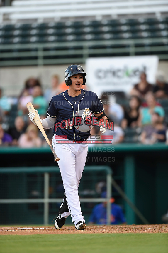 ***Temporary Unedited Reference File***San Antonio Missions left fielder Nick Torres (11) during a game against the Midland RockHounds on April 21, 2016 at Nelson W. Wolff Municipal Stadium in San Antonio, Texas.  Midland defeated San Antonio 9-2.  (Mike Janes/Four Seam Images)