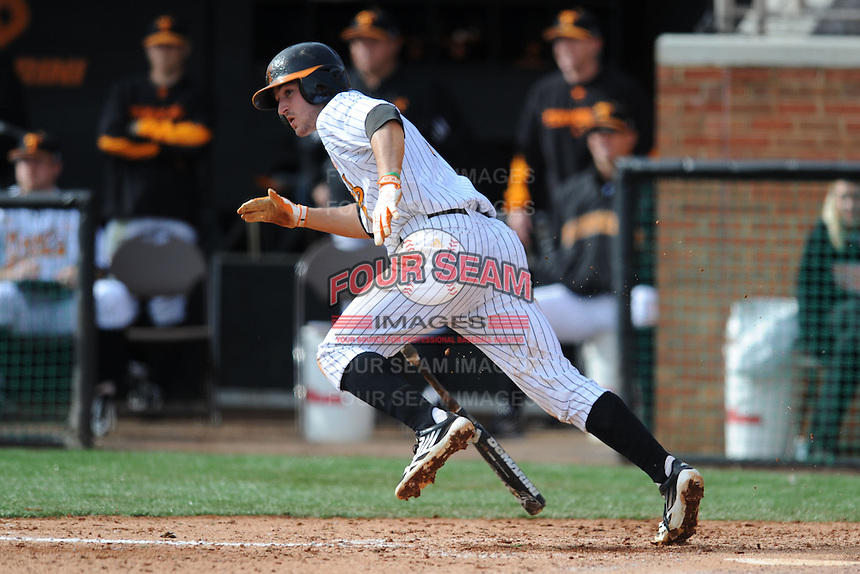 Tennessee Volunteers third baseman Will Maddox #1 runs to first during a game against  the Arizona State Sun Devils at Lindsey Nelson Stadium on February 23, 2013 in Knoxville, Tennessee. The Volunteers won 11-2.(Tony Farlow/Four Seam Images).