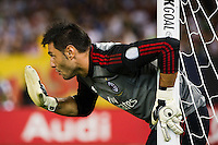 A. C. Milan goalkeeper Marco Amelia (1). Real Madrid defeated A. C. Milan 5-1 during a 2012 Herbalife World Football Challenge match at Yankee Stadium in New York, NY, on August 8, 2012.