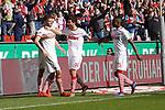 09.03.2019, RheinEnergieStadion, Koeln, GER, 2. FBL, 1.FC Koeln vs. Arminia Bielefeld,<br />  <br /> DFL regulations prohibit any use of photographs as image sequences and/or quasi-video<br /> <br /> im Bild / picture shows: <br /> Torjubel / Jubel / Jubellauf,    Simon Terodde (FC Koeln #9), Jonas Hector (FC Koeln #14),  Jhon C&oacute;rdoba (FC Koeln #15),   <br /> <br /> Foto &copy; nordphoto / Meuter