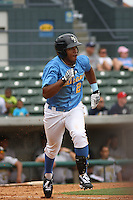 Luis Surmoza #25 of the Myrtle Beach Pelicans running to 1st base during a game against the Lynchburg Hillcats on May 26, 2010 at BB&T Coastal Field in Myrtle Beach, SC.