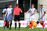 England captain, Joe Worrall, shows his anger after the Ivory Coast were awarded a last minute penalty during England Under-18 vs Ivory Coast Under-20, Toulon Tournament Final Football at Stade de Lattre-de-Tassigny on 10th June 2017
