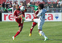 30 March 2013:Toronto FC forward Robert Earnshaw #10 and Los Angeles Galaxy defender A.J. DeLaGarza #20 in action during an MLS game between the LA Galaxy and Toronto FC at BMO Field in Toronto, Ontario Canada..The game ended in a 2-2 draw..