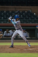 AZL Royals shortstop Maikel Garcia (4) at bat during an Arizona League game against the AZL Giants Black at Scottsdale Stadium on August 7, 2018 in Scottsdale, Arizona. The AZL Giants Black defeated the AZL Royals by a score of 2-1. (Zachary Lucy/Four Seam Images)