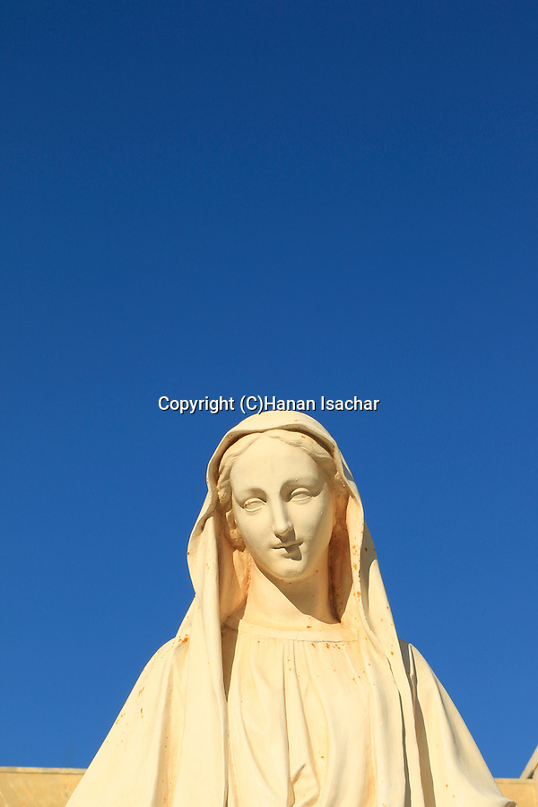 Israel, Galilee, a statue of St. Mary at the Church of the Annunciation in Nazareth