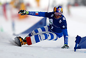 18th March 2018, Winterberg, Germany;  Snowboard World Cup, team parallel slalom. Roland Fischnaller of Italy in action.