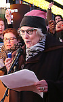 Kate Mulgrew and Betty Buckley attend The Ghostlight Project to light a light and make a pledge to stand for and protect the values of inclusion, participation, and compassion for everyone - regardless of race, class, religion, country of origin, immigration status, (dis)ability, gender identity, or sexual orientation at The TKTS Stairs on January 19, 2017 in New York City.
