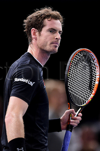 06.11.2015. Paris, France BNP Paribas Master Tennis, Bercy. Semi-finals match between Andy Murray( GBR) and david Ferrrer. Murray celebrates a set won.