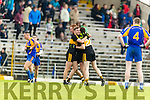 Luke Quinn, Mike Milner and Johnny Buckley Dr Crokes celebrate after defeating Kenmare District in the Senior County Football Championship final at Fitzgerald Stadium on Sunday.