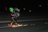 Extreme skater, Dirk Auer (36) is crazy for a special kind of acceleration power contest. He´s keen on experiencing a night run on inline skates with two jet-turbines on his back. For this mission Auer buckles two modified Jetcat turbines (valued at 9000 Euro) on his back. Usually, these jet engines are assembled at military compounds. Each turbine produces up to 113,000 revolutions per minute, and reaches 250 Newtonmeters, 100 PS, at full thrust. He was very surprised that his brake system on his skates produces so many sparks.