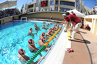 STANFORD, CA - October 9, 2010: Team during a water polo game against USC in Stanford, California. Stanford beat USC 5-3.