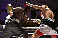 Daniel Mendes (grey shorts) defeats Pawel Stykowski during a Boxing Show at York Hall on 8th September 2018