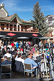 USA, Colorado, Aspen, apres ski at the Ajax Tavern at the base of Aspen mountain