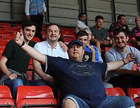 Leeds United fans prior to kick off <br /> <br /> Photographer Ian Cook/CameraSport<br /> <br /> The EFL Sky Bet Championship - Bristol City v Leeds United - Sunday 4th August 2019 - Ashton Gate Stadium - Bristol<br /> <br /> World Copyright © 2019 CameraSport. All rights reserved. 43 Linden Ave. Countesthorpe. Leicester. England. LE8 5PG - Tel: +44 (0) 116 277 4147 - admin@camerasport.com - www.camerasport.com