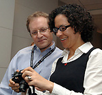 Newsday Cartoonist, Walter Handelsman with Cerene Lewis during an acknowlegement ceremony for his winning of the Pulitzer for a Portfolio of Editorial Cartoons, in the Auditorium of Newsday offices in Melville on Monday April 16, 2007. Photo/Jim Peppler.