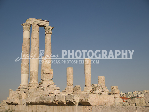 Jabal al-Qal'a or the Citadel in Amman, is one of the main legacies of ancient peoples in the city. These particular ruins were part of the Temple of Hercules.
