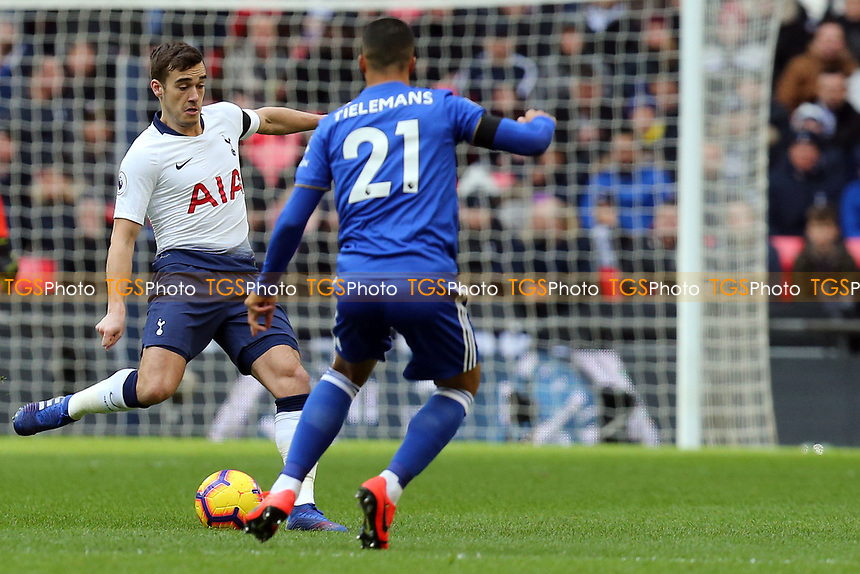 Harry Winks of Tottenham Hotspur and Youri Tielemans of Leicester City during Tottenham Hotspur vs Leicester City, Premier League Football at Wembley Stadium on 10th February 2019