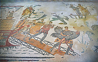 Ambulatory of the Great Hunt Roman mosaic, Ostrich is being taken off a ship, room no 28, at the Villa Romana del Casale, first quarter of the 4th century AD. Sicily, Italy. A UNESCO World Heritage Site.<br /> <br /> The Great Hunt ambulatory is around 60 meters long (200 Roman feet) and connects the master&rsquo;s northern apartments with the triclinium in the south. The door in the centre of the the Great Hunt ambulatory leads to audience hall. <br /> <br /> The Great Hunt Roman mosaic depicts African animals being hunted and put onto ships to be taken to the Colosseum.
