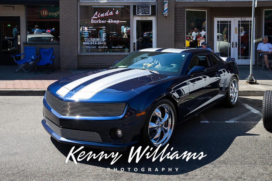 Blue Chevrolet Camaro, Return to Renton Auto Show 2017, Washington, USA.