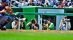 25 April 2010: Baseball photographers covering the Washington Nationals are ready for action shooting from the inside third base photo well during a game against the Los Angeles Dodgers at Nationals Park in Washington, DC. The Nationals shut out the Dodgers 1-0 to take the rubber match of their 3-game series. Mandatory Credit: Ed Wolfstein Photo