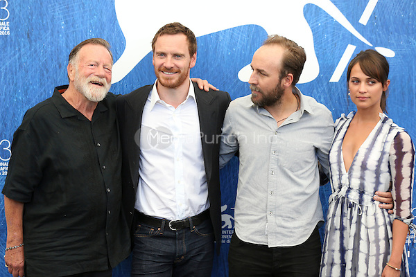 Jack Thompson, Michael Fassbender, Derek Cianfrance, Alicia Vikander attends 'The Light Between Oceans' photocall during the 73rd Venice Film Festival on September 01, 2016 in Venice, Italy. <br /> CAP/GOL<br /> &copy;GOL/Capital Pictures /MediaPunch ***NORTH AND SOUTH AMERICAS ONLY***