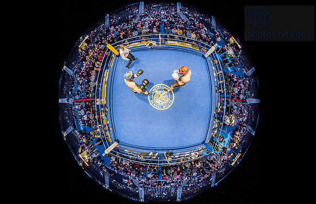 """March 3, 2017; Junior Captain Pat """"The Quiet Man"""" Gordon  (blue trunks) squares off against Ryan """"Eat at Yaz's"""" Richelsen (gold trunks) in the 2017 Bengal Bouts HeavyWeight championship bout as Referee Lou Hall keeps an eye on things. (Photo by Matt Cashore/University of Notre Dame)"""
