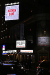 """Theatre Marquee for the Broadway Opening Night performance curtain call bows for """"The Front Page""""  at the Broadhurst Theatre on October 20, 2016 in New York City."""