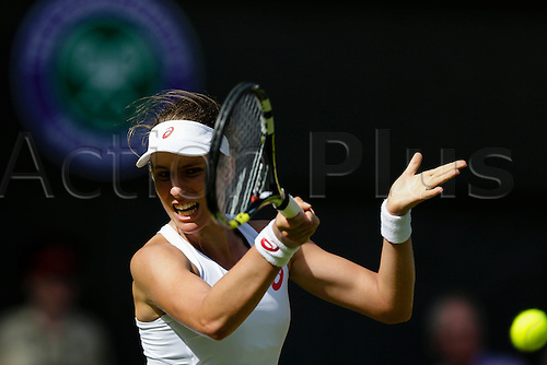 29.06.2015.  Wimbledon, England. The Wimbledon Tennis Championships. Ladies' Singles first round match between fourth seed Maria Sharapova (RUS) & Johanna Konta (GBR).  Johanna Konta in action