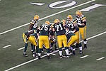 An overhead view of the Green Bay Packers offensive huddle during Super Bowl XLV against the Pittsburgh Steelers on Sunday, February 6, 2011, in Arlington, Texas. The Packers won 31-25. (AP Photo/David Stluka)