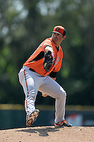 Baltimore Orioles pitcher Brian Gonzalez (25) during a minor league spring training game against the Boston Red Sox on March 18, 2015 at the Buck O'Neil Complex in Sarasota, Florida.  (Mike Janes/Four Seam Images)