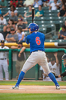 John Andreoli (6) of the Iowa Cubs at bat against the Salt Lake Bees in Pacific Coast League action at Smith's Ballpark on August 20, 2015 in Salt Lake City, Utah. The Cubs defeated the Bees 13-2. (Stephen Smith/Four Seam Images)
