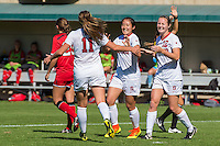 Stanford, CA - October 23, 2016:  Michelle Xiao and Kyra Carusa during the Stanford vs Utah Women's soccer match in Stanford, California.  The Cardinal defeated the Utes 2-0.