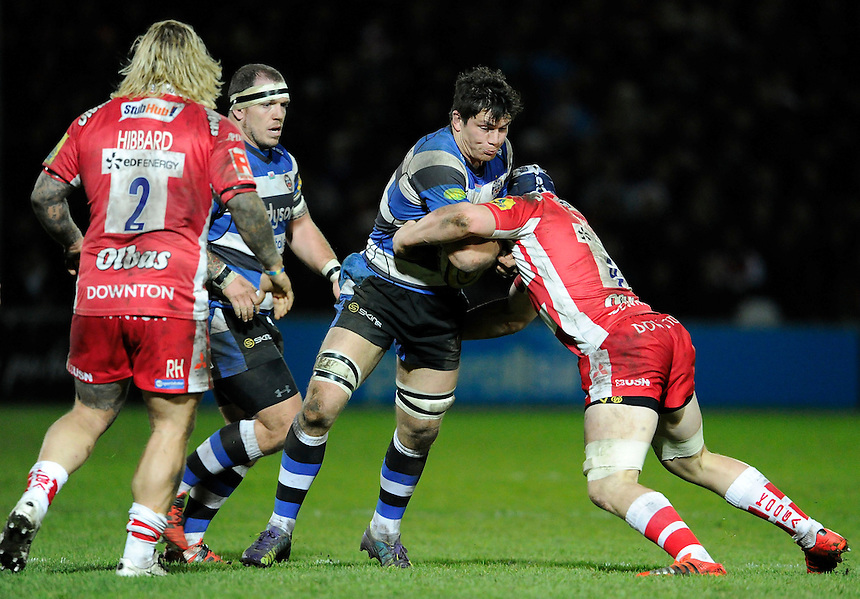 Bath Rugby's Francois Louw in action during the match at Kingsholm<br /> <br /> Photographer Ashley Western/CameraSport<br /> <br /> Rugby Union - Aviva Premiership - Gloucester v Bath Rugby - Saturday 20th December 2014 - Kingsholm Stadium - Gloucester<br /> <br /> &copy; CameraSport - 43 Linden Ave. Countesthorpe. Leicester. England. LE8 5PG - Tel: +44 (0) 116 277 4147 - admin@camerasport.com - www.camerasport.com