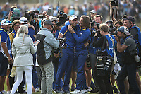 Tommy Fleetwood (Team Europe) enjoying celebrating during Sunday's Singles, at the Ryder Cup, Le Golf National, Île-de-France, France. 30/09/2018.<br /> Picture David Lloyd / Golffile.ie<br /> <br /> All photo usage must carry mandatory copyright credit (© Golffile | David Lloyd)