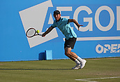 June 16th 2017, Nottingham, England; ATP Aegon Nottingham Open Tennis Tournament day 5;  Forehand from Dudi Sela of Israel  on his way to winning the first set against Lloyd Glasspool of Great Britain