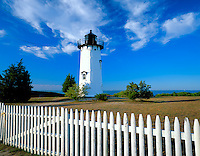 Martha's Vineyard, MA  <br /> East Chop Lighthouse (1877) with white picket fence on Telegraph Hill at the east entrance to Vineyard Haven Harbor