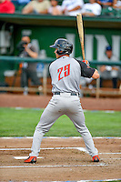 Northwest League All-Star Gio Brusa (29) of the Salem-Keizer Volcanoes at bat against the Pioneer League All-Stars at the 2nd Annual Northwest League-Pioneer League All-Star Game at Lindquist Field on August 2, 2016 in Ogden, Utah. The Northwest League defeated the Pioneer League 11-5. (Stephen Smith/Four Seam Images)
