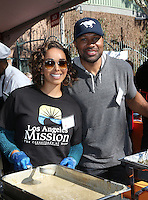Los Angeles, CA - NOVEMBER 23: Gloria Govan, Derek Fisher, At Los Angeles Mission Thanksgiving Meal For The Homeless At Los Angeles Mission, California on November 23, 2016. Credit: Faye Sadou/MediaPunch
