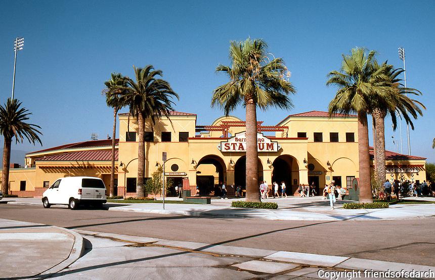 """Ballparks: San Bernardino """"The Ranch"""" facade. Opened 1996, visited 1999."""
