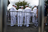 United States Navy sailors line up outside the United States Capitol to pay their respects to former Senator John McCain, Republican of Arizona, as he lays in state in the Rotunda of the Capitol in Washington, DC on August 31, 2018 in Washington, DC. McCain, a United States Military veteran and longtime Senator, will lay in state inside the Capitol Rotunda for one day prior to being laid to rest on September 1, 2018 at the United States Naval Academy in Annapolis, Maryland. Credit: Alex Edelman / CNP