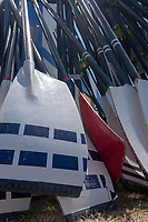 """Henley on Thames, United Kingdom, 2nd July 2018, Monday,   """"Henley Royal Regatta"""",  """"London Rowing Club, Stacked Oar, Blades, boat tent Area,  Henley Reach, River Thames, Thames ValleyEngland, © Peter SPURRIER,"""