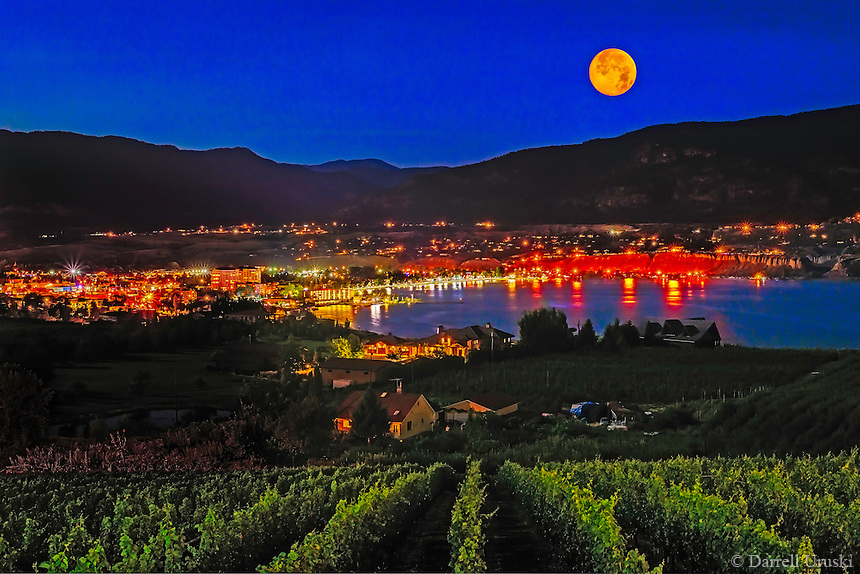 Fine Art Print Orchard Scenic of a Super Moon prior to setting just above Okanagan Lake and the city of Penticton. in British Columbia, Canada.