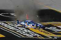 Nov. 1, 2009; Talladega, AL, USA; NASCAR Sprint Cup Series driver Kurt Busch spins during the Amp Energy 500 at the Talladega Superspeedway. Mandatory Credit: Mark J. Rebilas-