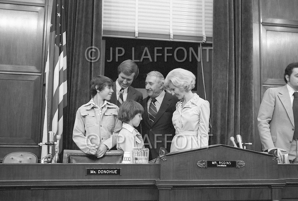 WASHINGTON DC 1973 - William S. Cohen (R-Maine) with his wife Diana Dunn and two sons meeting Peter Rodino during Watergate hearings - A break in at the Democratic National Committee headquarters at the Watergate complex on June 17, 1972 results in one of the biggest political scandals the US government has ever seen.  Effects of the scandal ultimately led to the resignation of  President Richard Nixon, on August 9, 1974, the first and only resignation of any U.S. President.