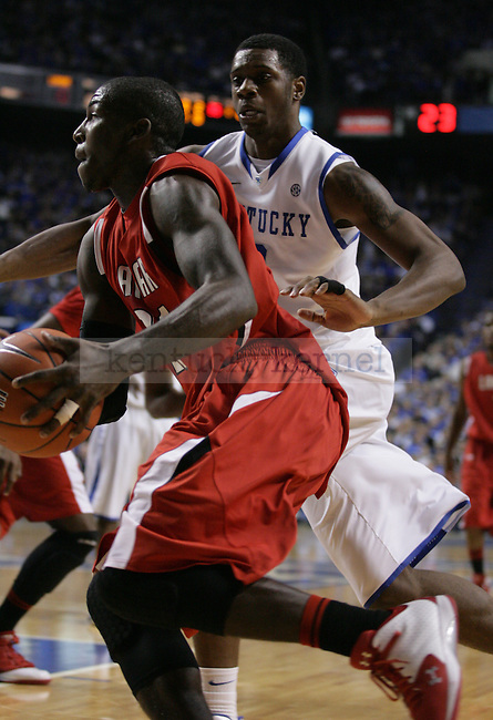 Sophomore forward Terrence Jones guards a Lamar University player at Rupp Arena, on Wednesday, Dec. 28, 2011. Photo by Latara Appleby | Staff ..
