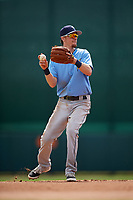 Tampa Bay Rays shortstop Matt Duffy (5) warmup throw to first base while on rehab assignment during an Instructional League game against the Baltimore Orioles on October 2, 2017 at Ed Smith Stadium in Sarasota, Florida.  (Mike Janes/Four Seam Images)