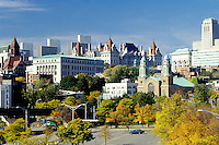 Albany, New York, NY, skyline, Downtown skyline of Albany, capital city of New York, in the fall.