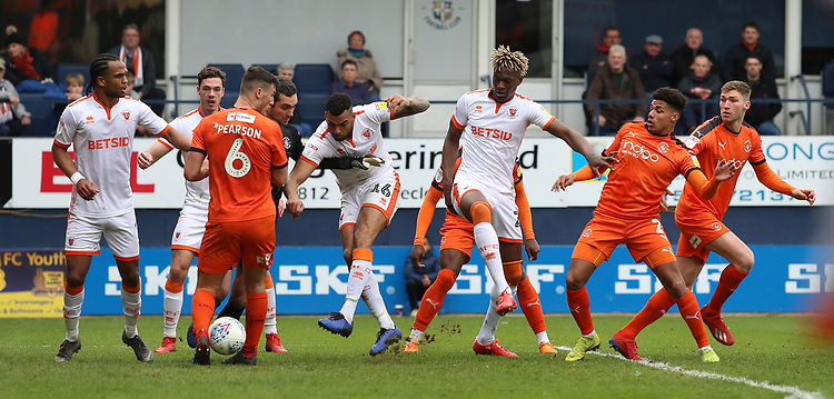 Blackpool's Curtis Tilt sees his shot blocked in the lead up to Blackpool's second goal<br /> <br /> Photographer David Shipman/CameraSport<br /> <br /> The EFL Sky Bet League One - Luton Town v Blackpool - Saturday 6th April 2019 - Kenilworth Road - Luton<br /> <br /> World Copyright © 2019 CameraSport. All rights reserved. 43 Linden Ave. Countesthorpe. Leicester. England. LE8 5PG - Tel: +44 (0) 116 277 4147 - admin@camerasport.com - www.camerasport.com