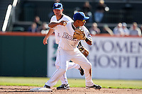 April 14, 2010:  Shortstop Ruben Tejada of the Buffalo Bisons in the field turning a double play with Russ Adams in the background during a game at Coca-Cola Field in Buffalo, New York.  The Bisons are the Triple-A International League affiliate of the New York Mets.  Photo By Mike Janes/Four Seam Images
